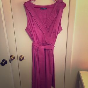 Think pink in this faux wrap sundress